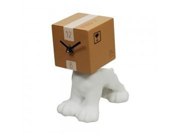 Horloge de table chien tête cube carton