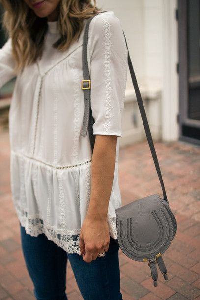 Shorts: cella jane blogger jeans white blouse romantic lace blouse designer bag chloe bag grey bag
