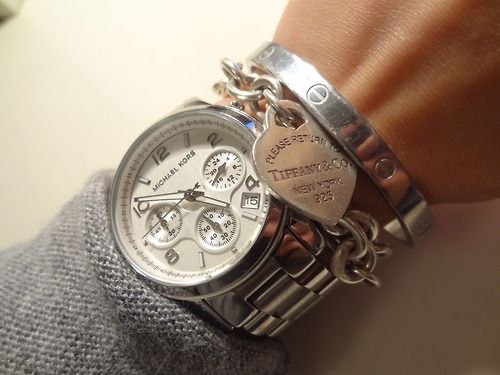 MK, Tiffany's, & Cartier = 3 best choices to wear on your wrist! Perfect combo :)