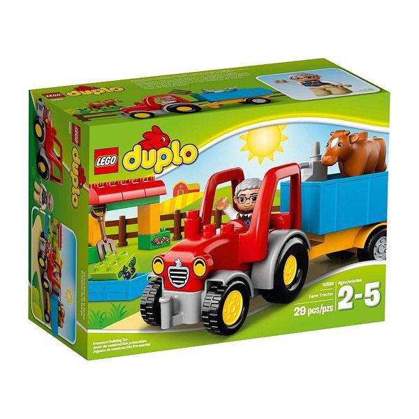 Lego Duplo - El Tractor De La Granja;  Sube al Tractor de la Granja y conduce hasta el cobertizo para dar de comer a la vaquita espera el desayuno. Vuelca el remolque y descarga el heno. Si el Tractor se avería, arréglalo una vez más con la lata de aceite y la llave. Incluye una figura de un viejo granjero... En   http://www.opirata.com/lego-duplo-tractor-granja-p-25877.html