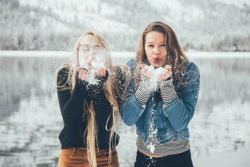 Imagen de winter, snow, and bff