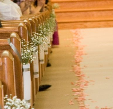 Found on Weddingbee.com Share your inspiration today!: Aisle Runners, Wedding Aisle, Church Wedding, Baby Breath, Aisle Flowers, Church Decor, Church Pew, Aisle Decor, Church Flowers