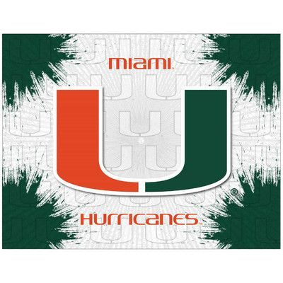 "Holland Bar Stool NCAA Graphic Art on Canvas Size: 15"" H x 20"" W x 1"" D, NCAA Team: Miami (FL) Hurricanes"