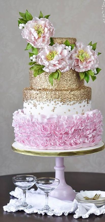 Glamorous glitter gold and pink floral wedding cake; Featured Cake: Juniper Cakery
