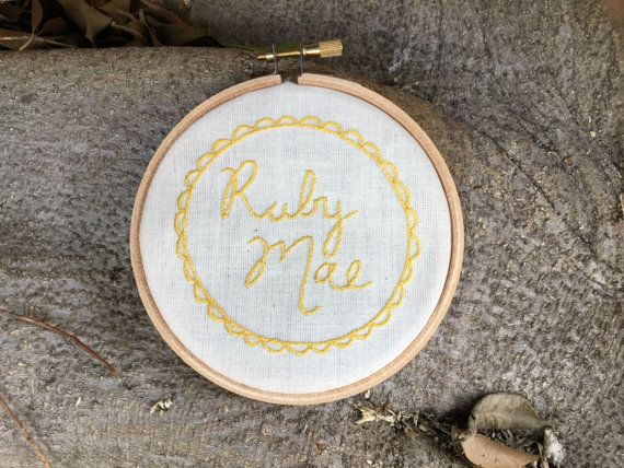 Hand Embroidery Hoop Art, Personalised Name Plaque,New Baby Gift, Birthday Present