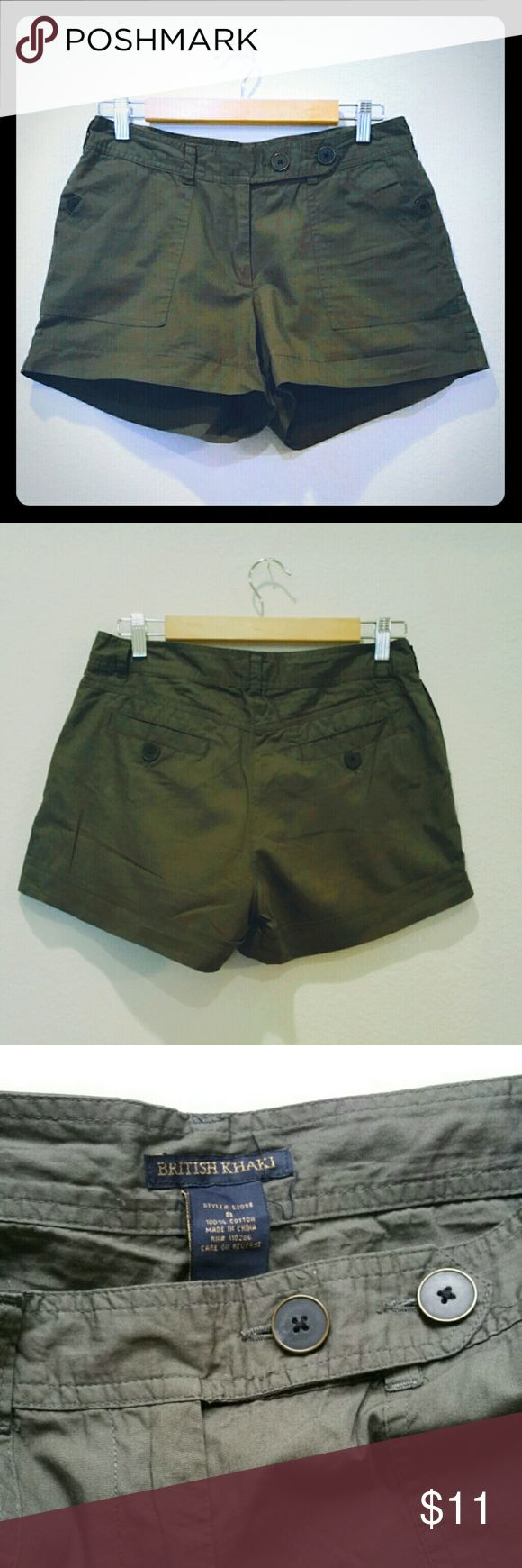 "British Khakis Olive Shorts 100% cotton skorts. 16"" waist, 12"" length,  4"" inseam. British Khakis Shorts"
