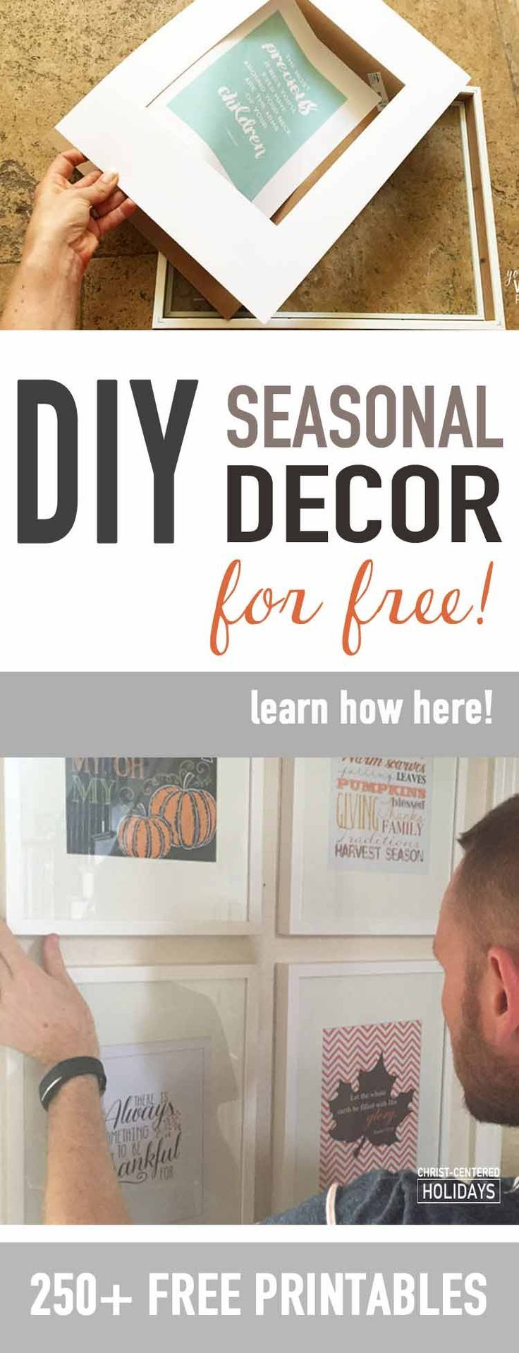 Want free seasonal home decor? You'll love this home decor idea to create a seasonal picture frame gallery out of free home decor printables! Get step by step instructions on how to create a picture frame collage wall for your home, plus links to 250 free 8 x 10 seasonal art printables!