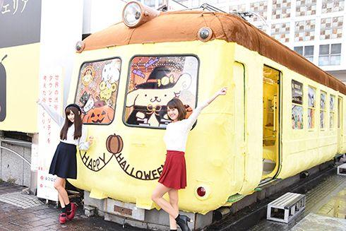 渋谷に「ポムポムトレイン」出現! ハチ公前に置かれた「青ガエル」がふわもこ車両にメイクアップ