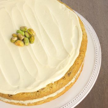 White chocolate and pistachios are a perfect match in this lovely Pistachio Cake with White Chocolate Frosting.