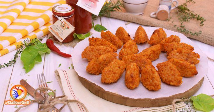 Crocchette Rosse di riso al forno:con una salsa di pomodorini dolci dai sapori speziati e piccanti. Ricetta con foto passo-passo e valori nutrizionali.