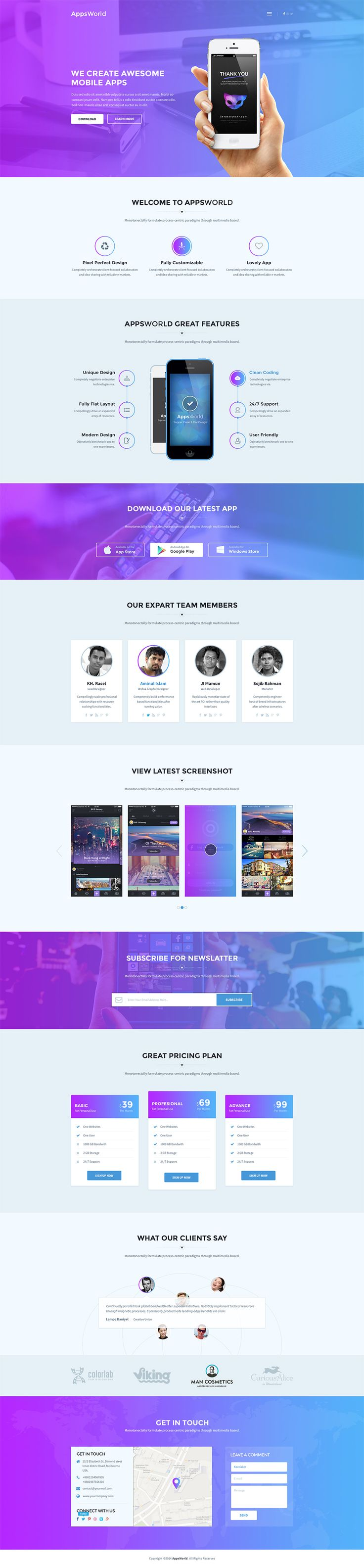 'AppsWorld' is a new One Page WordPress theme suited for creating a landing page for your app. The theme comes with 3 color scheme options: Default, Gradient and Dark scheme. I quite like this unique testimonial section design. Overall 'AppsWorld' will give you a great first impression for your new product.