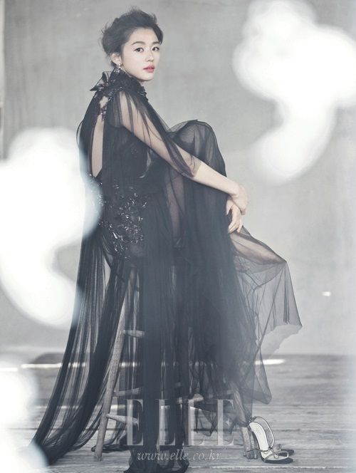 black wedding #dress :: Jun Ji Hyun in Elle Korea, May 2012