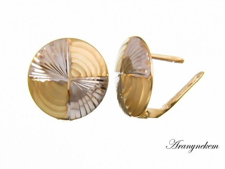Vésett bikolor arany francia kapcsos fülbevaló