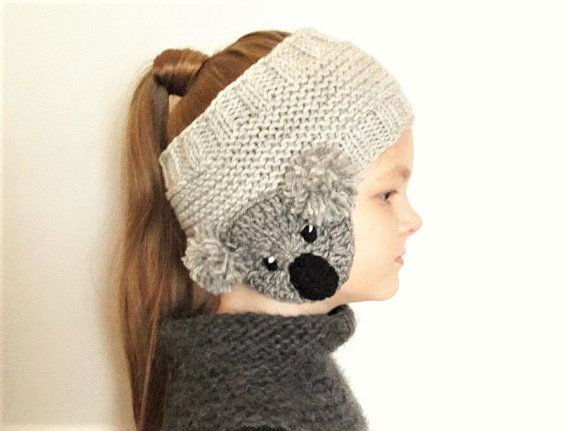 Koala Headband, Ear Warmer, Knit Headband, Head Wrap, Girls Headband, Earmuffs, Kids Outfit, Girls Outfit, Winter Accessories, Gray headband