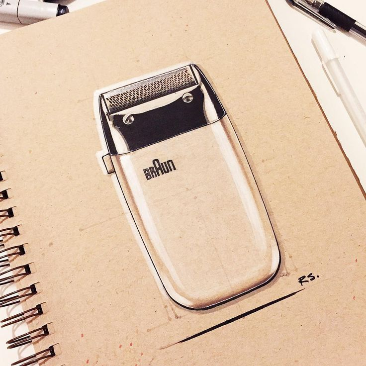Classic Dieter Rams shaver. Braun industrial design, sketch