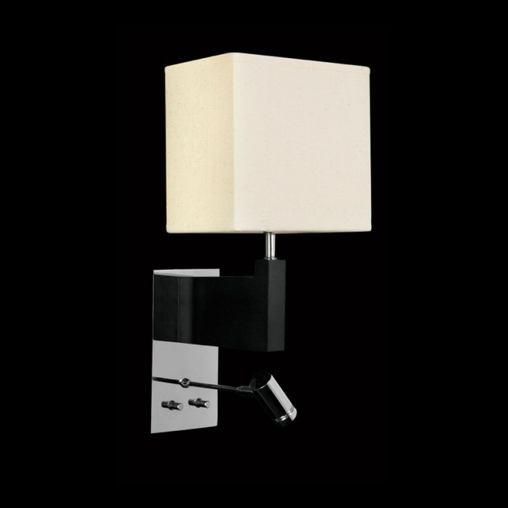Square Shade Wall Light with Wooden Base and LED