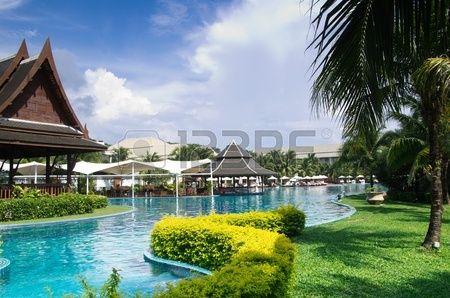 Tropisch zwembad in thailand Stockfoto