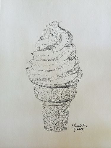 Ice cream cone dot stipple drawing I did using a stabilo marker