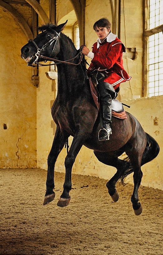 "Rider Ben Atkinson (Aidan Turner's Poldark stunt-double) performing with Andalusian horses ""Almonzor"" and ""Ocle"" at Bolsover Castle in Derbyshire."