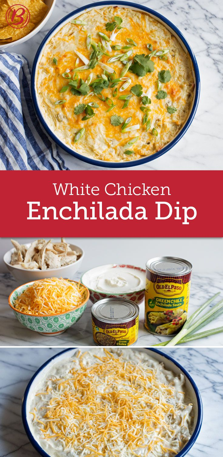 All the best flavors of white chicken enchiladas get baked into a creamy, cheesy dip with this incredibly easy recipe! Want to spice it up? A chopped jalapeño (with or without the seeds) provides a nice kick of heat.