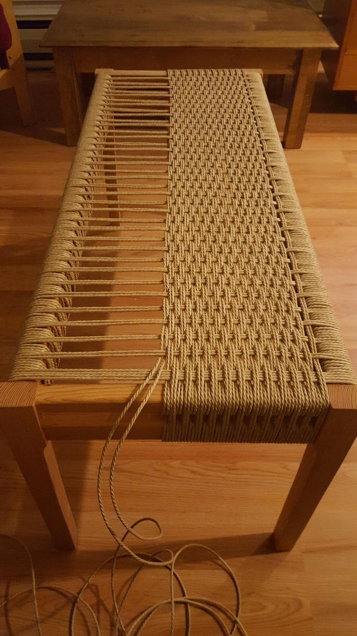 How to build a Danish Cord woven bench. What a great wedding gift or housewarming gift that would make!