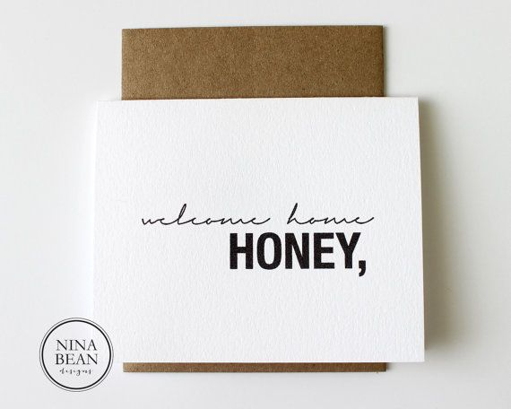 Welcome Home Honey- Surprise Date Night | LOVE this adorable card!!