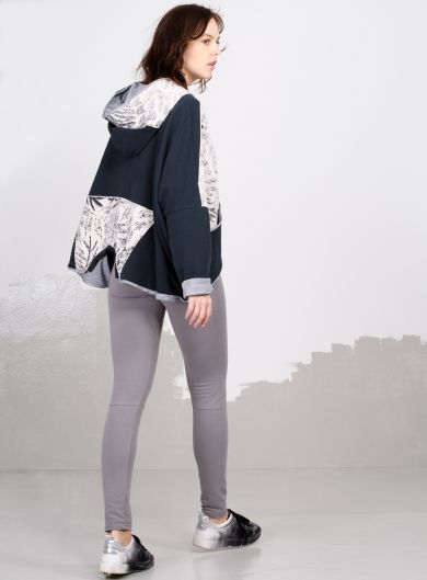 Jacket double-faced with 'Leaves' print