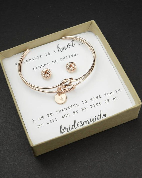 Knot Bracelet Bridesmaid Thank You For Helping Us Tie The Knot Earrings Bridesmaid Tha Knot Bracelet Bridesmaid Bridesmaid Bracelet Gift Monogrammed Bridesmaid