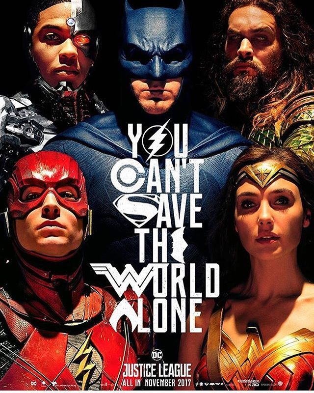 """Reposting @dirtees: You can't save the world alone. Here's the new Justice League poster. Are you excited for the movie? What are your thoughts on the """"Ben Affleck might leave after Justice League""""rumor? #justiceleague #batman #wonderwoman #aquaman #flash #cyborg #superman #dceu #dccomics #dc #comic #comics #comicbooks #comicbook #jla #justiceleaguemovie #movieposter #posterart"""