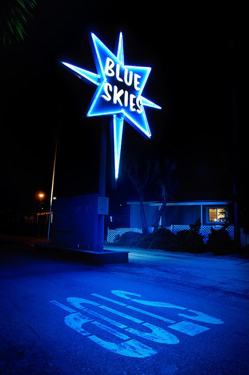 Blue Skies motel sign