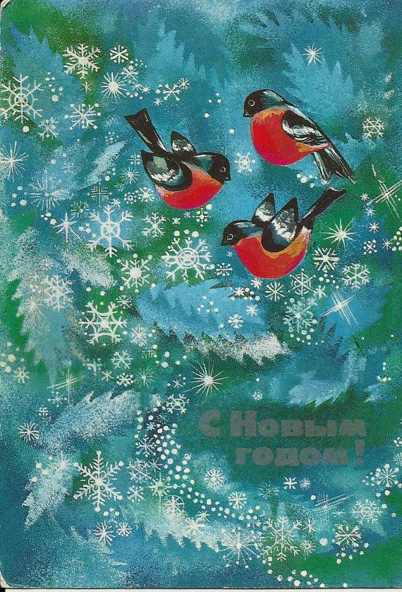Vintage Russian Postcard - Birds - New Year - old cards