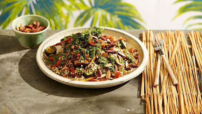 Roast vegetable and buckwheat salad with preserved lemon chimichurri. Did we mention it's gluten-free too?
