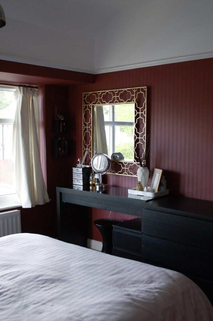 Master bedroom makeover with Valspar (Ruby Begonia) - Perfect for the marsala trend.