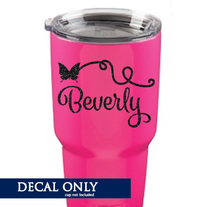 Butterfly name decal vinyl sticker monogram yeti rtic tumbler decal by amberrockstar on etsy