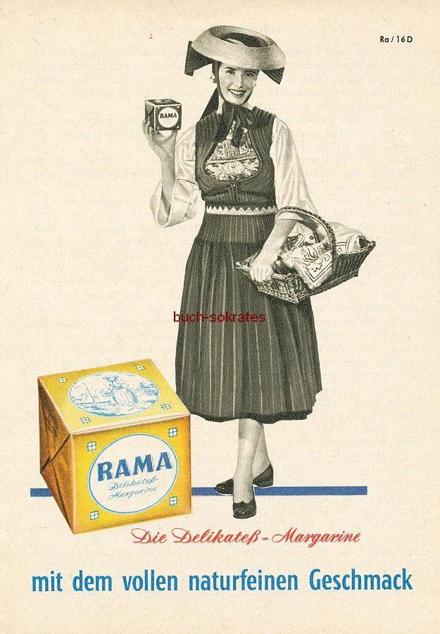 Werbe-Anzeige / Werbung/Reklame Konvolut Annoncen Werbegraphik 50er Jahre: Rama Delikatess-Margarine (1956)