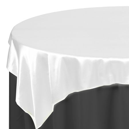 buy and save on 60 x 60 satin white table topper overlays for showers holiday catering and discount weddings on a budget - Discount Table Linens