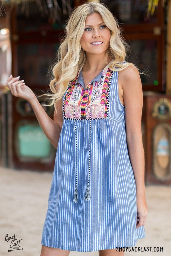 Moroccan Nights Dress The bright colors and fun patterns of this dress reminds us of Morocco. It also has the simplicity of denim pinstripes, the perfect combination for a summer sundress