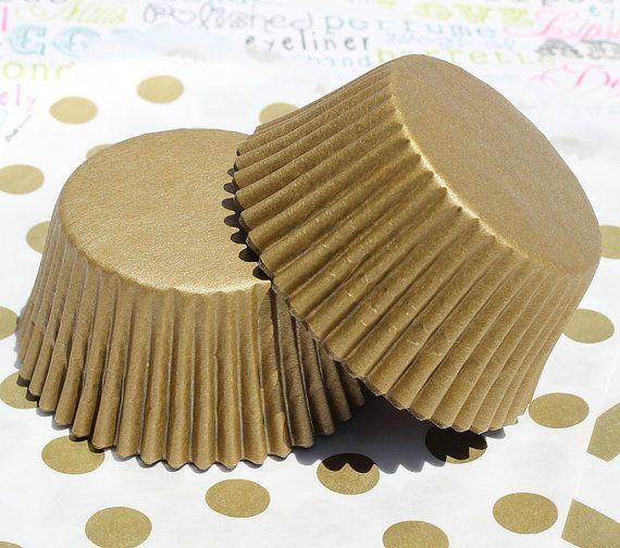 150 or Shimmer Cupcake Liners Gold Shimmer par BakersBlingShop