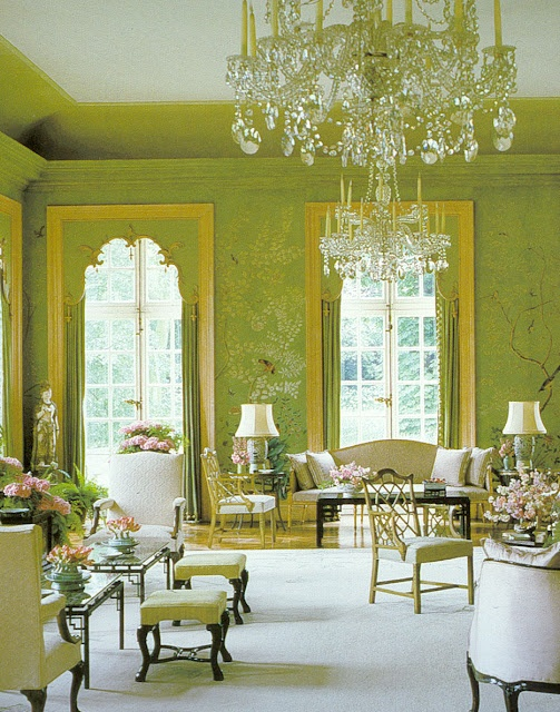 White Rug Chartreuse Green Walls Crystal Chandelier