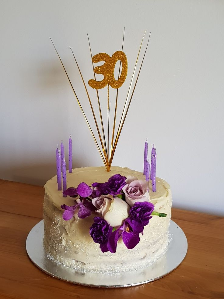 Champagne vanilla cake::champagne simple syrup::Grace 30::purple and gold