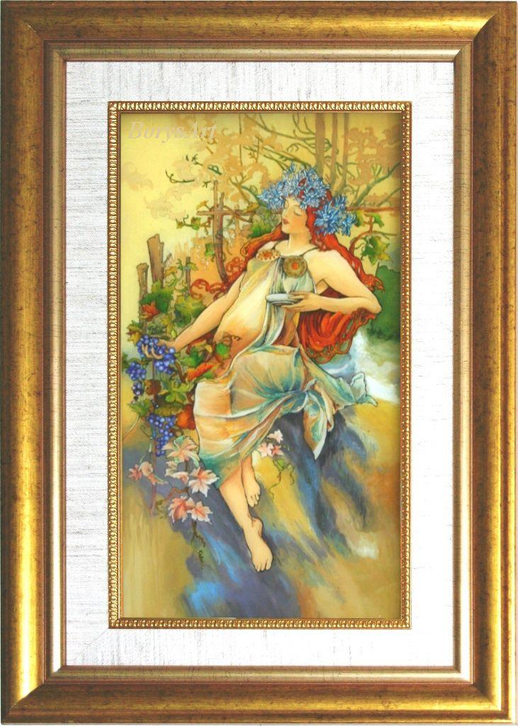 JESIEŃ Alphonse Mucha, malowane na szkle, Danuta Rożnowska-Borys -BorysArt