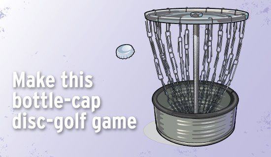 With a tin can and paper clips, make a mini disc-golf basket.