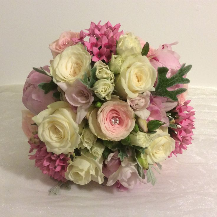 Lovely Dolomiti Roses Sweet Smelling Paeonia Bouvardia And Seasonal Dusty Miller Leaf DonegalBridal FlowersDusty