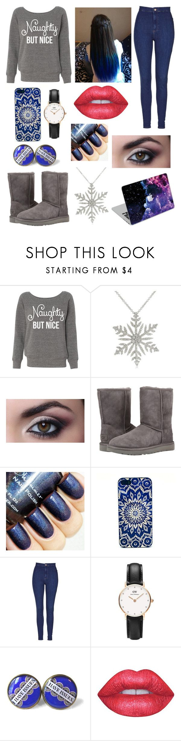"""Winter's here"" by justine-maheux ❤ liked on Polyvore featuring UGG Australia, Topshop, Daniel Wellington and Lime Crime"