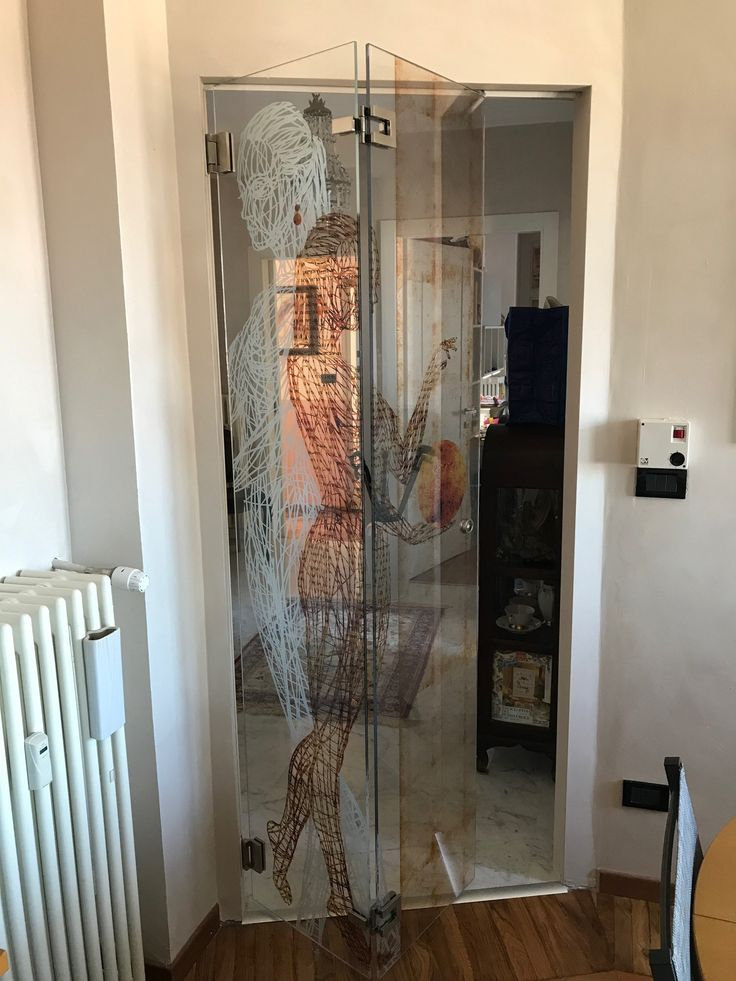 Sistema a soffietto per porte in vetro extra chiaro con stampa digitale in quadricromia e bianco