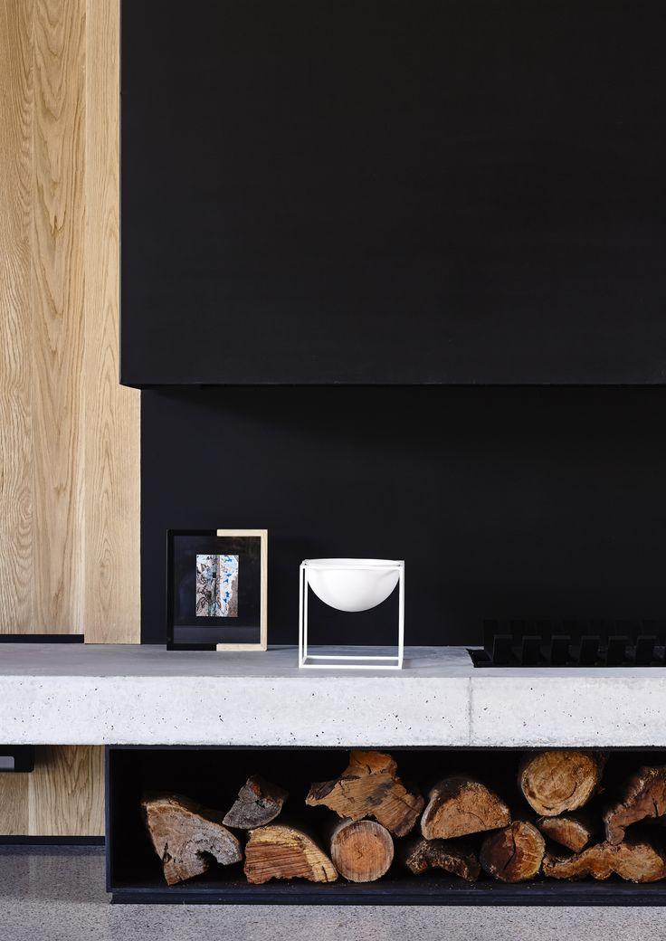 fireplace, american oak & black steel mckimm design #328 Wolseley Residence