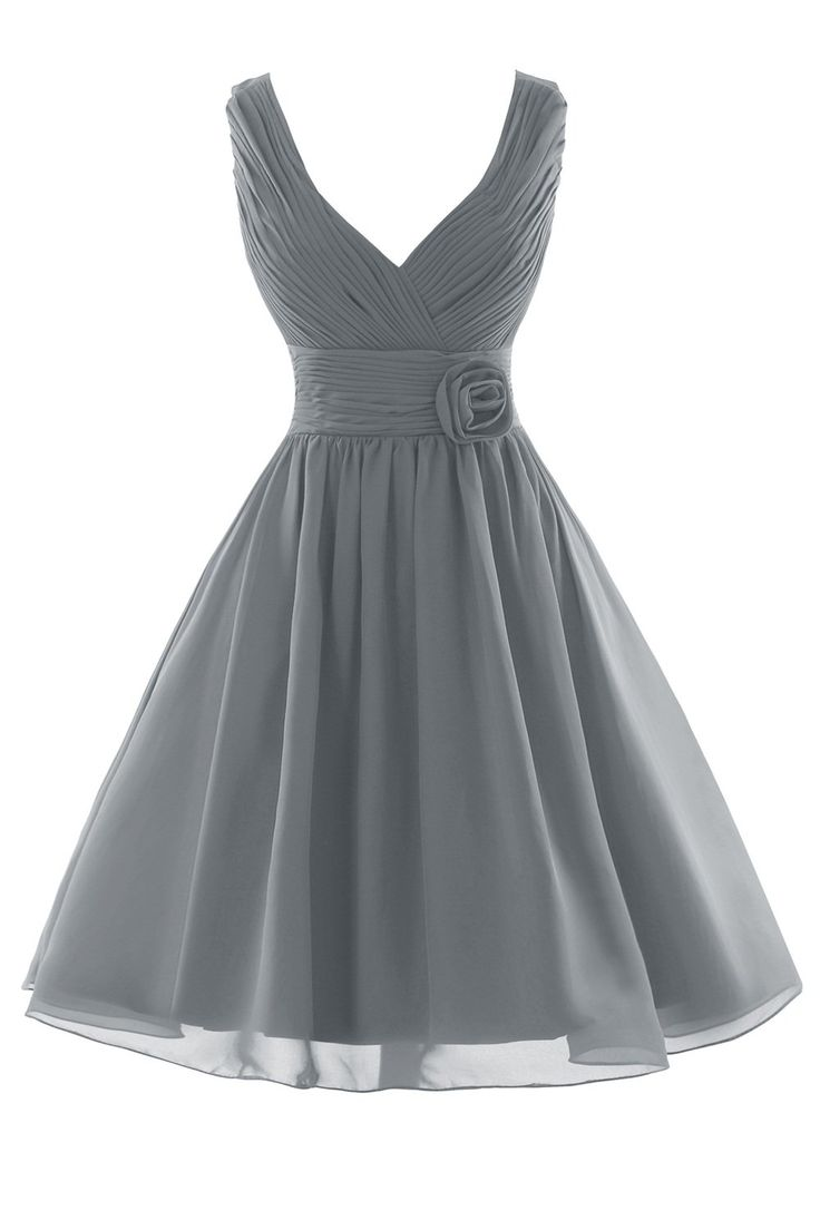 Orient Bride Women Tank Flower Short Party Prom Bridesmaid Dresses Size 8 UK Steel Grey