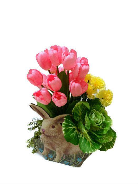 Easter Bunny Spring Centerpiece Tulip Carnation Wooden Basket Table Silk Floral Arrangement Home Decor