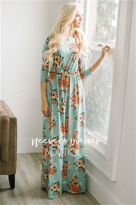 Mint Peach Spring Floral Maxi Modest Dress, Church Dresses, dresses for church, modest bridesmaids dresses, best modest boutique, modest clothes, affordable modest clothes, cute modest dresses, maxi dress, floral dress, dresses with sleeves