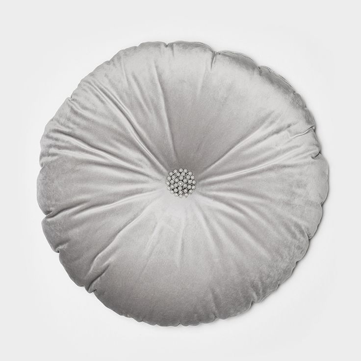 Lennol | MEGAN Round velvet cushion, light grey